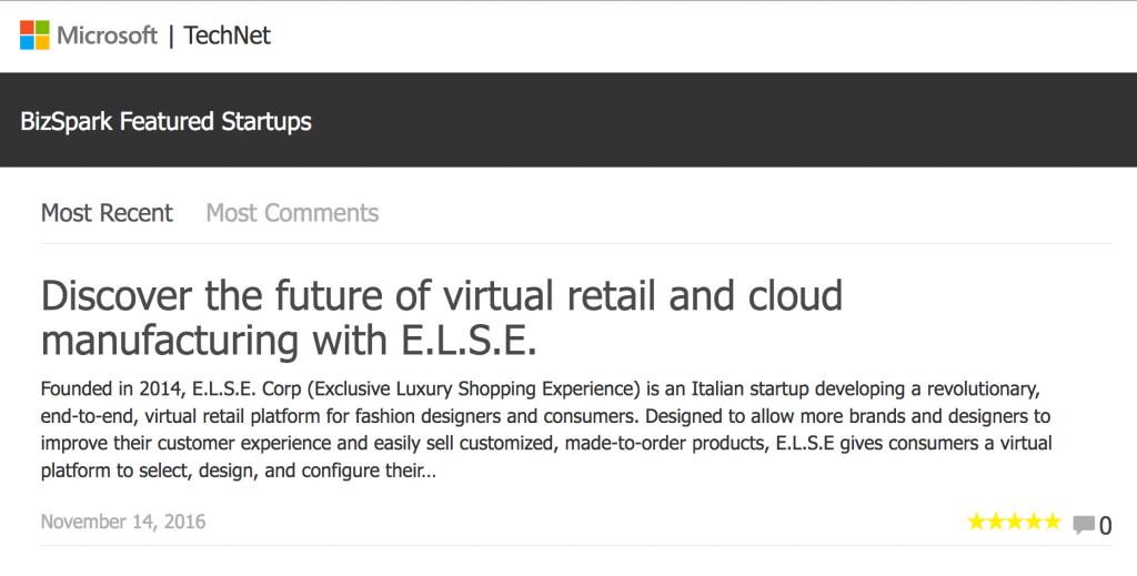 ELSE Corp- BizSpark Featured Startups