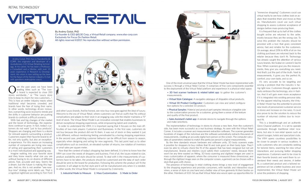 "Retail Technology: VIRTUAL RETAIL, by ""FOCUS on Fashion Retail"" Magazine"