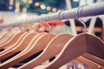 Clothing on Hangers Fashion retail Display Shop Outdoor Market e