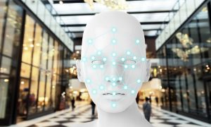 Machine learning systems , accurate facial recognition biometric technology, artificial intelligence concept. 3D Rendering of woman face and dots connect on face with blur retail shop mall background.